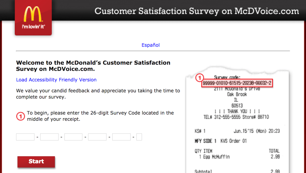 McDVOICE – McDonalds Survey on www.mcdvoice.com